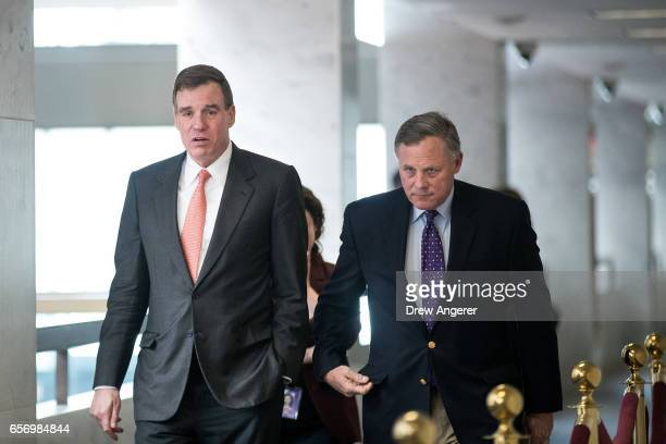 Ranking member Sen Mark Warner and committee chairman Sen Richard Burr arrive for a closed briefing with the Senate Select Committee on Intelligence...
