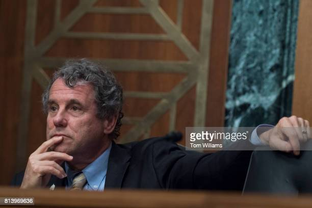 Ranking Member Sherrod Brown DOhio attends a Senate Banking Housing and Urban Affairs Committee hearing titled 'The Semiannual Monetary Policy Report...