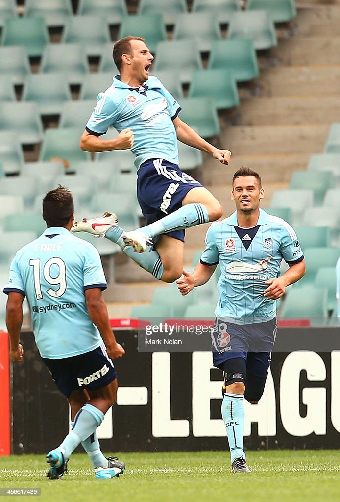 Ranko Despotovic of Sydney celebrates scoring a goal during the round 10 A-League match between Sydney FC and the Melbourne Heart at Allianz Stadium on December 15, 2013 in Sydney, Australia.