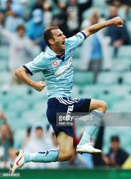 Ranko Despotovic of Sydney FC celebrates scoring the first goal during the round 19 ALeague match between Sydney FC and Perth Glory at Allianz...