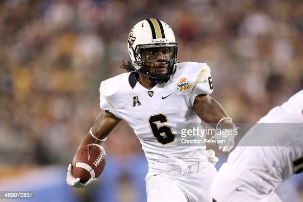 Rannell Hall of the UCF Knights scores a second quarter touchdown during the Tostitos Fiesta Bowl against the Baylor Bears at University of Phoenix...