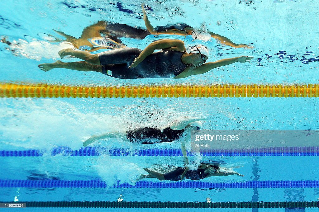 Ranomi Kromowidjojo of Netherlands, Missy Franklin of the United States and Haruka Ueda of Japan compete in heat 7 of the Women's 100m Freestyle on Day 5 of the London 2012 Olympic Games at the Aquatics Centre on August 1, 2012 in London, England.