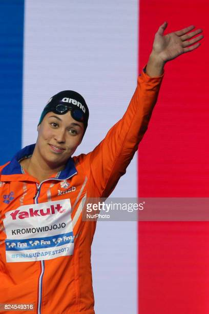 Ranomi Kromowidjojo of the Netherlands celebrates her Silver Medal in the Women's 50m Freestyle Final on day seventeen of the Budapest 2017 FINA...