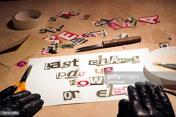 Ransom note style debt collection threat.