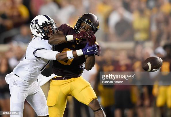 Ranthony Texada of the TCU Horned Frogs breaks up a pass intended for Eric Carter of the Minnesota Golden Gophers during the second quarter of the...