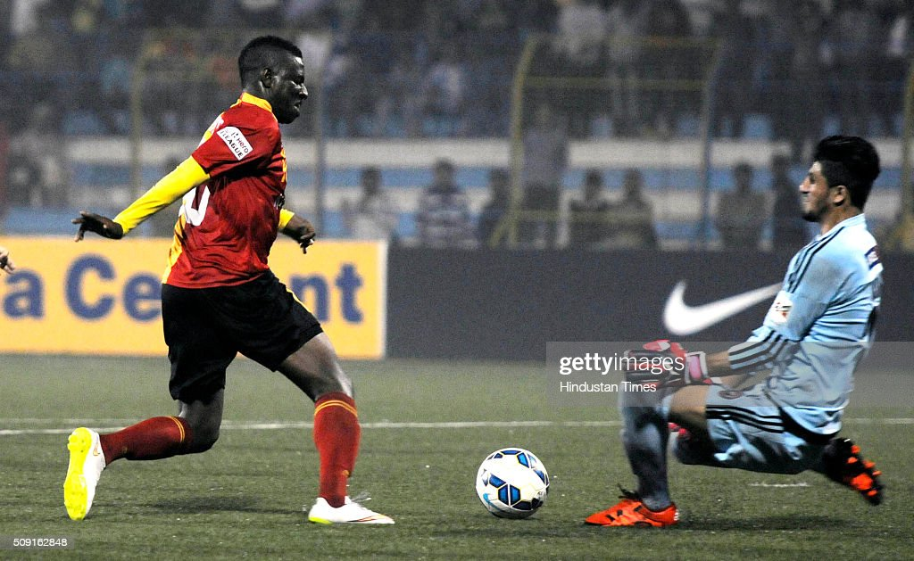 Ranti Martins of East Bengal scoring the 3rd goal against Shillong Lajong FC during I League Match at Barasat Stadium in Bebengal India on Tuesday February 9th, 2016.