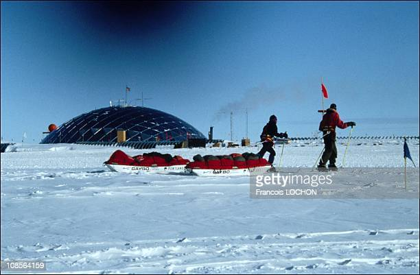 Ranulph Fiennes Michael Stroud at the south pole on February 05th 1993