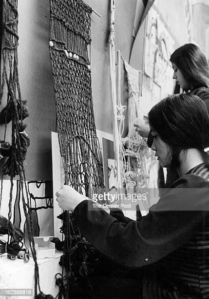 DEC 1 1972 DEC 6 1972 Ranum High Students Prepare For Art Show Jeanine Nazazono works on macrame wall hanging