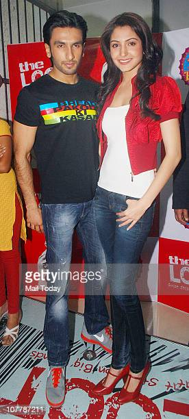 Ranveer Singh and Anushka Sharma during the promotional event of movie 'Band Baaja Baaraat' at the Loot store in Goregaon Mumbai
