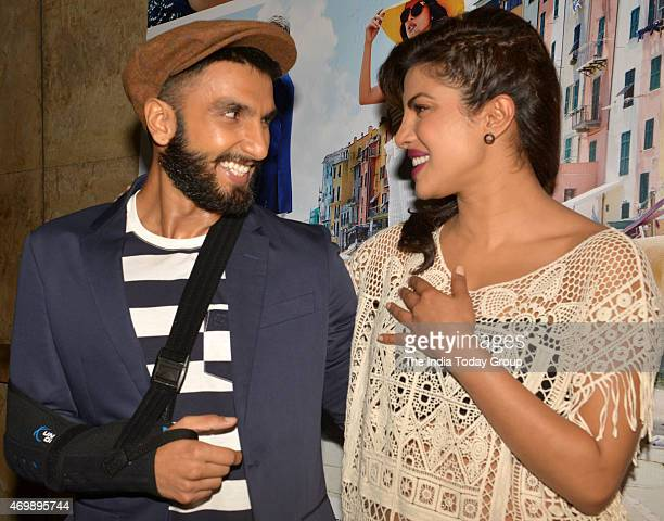 Ranveer Singh and Priyanka Chopra at the trailer launch of their upcoming movie Dil Dhadkane Do in Mumbai