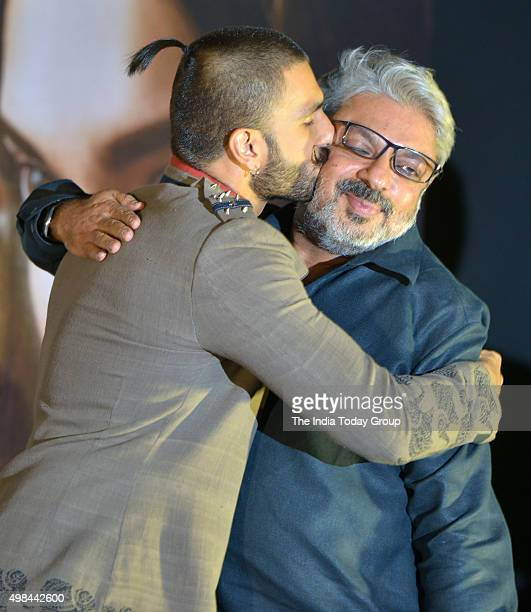 Ranveer Singh and Sanjay Leela Bhansali at the trailer launch of their upcoming movie Bajirao Mastani in Mumbai