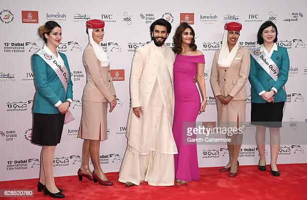 Ranveer Singh and Vaani Kapoor attends the Befikre red carpet during day two of the 13th annual Dubai International Film Festival held at the Madinat...