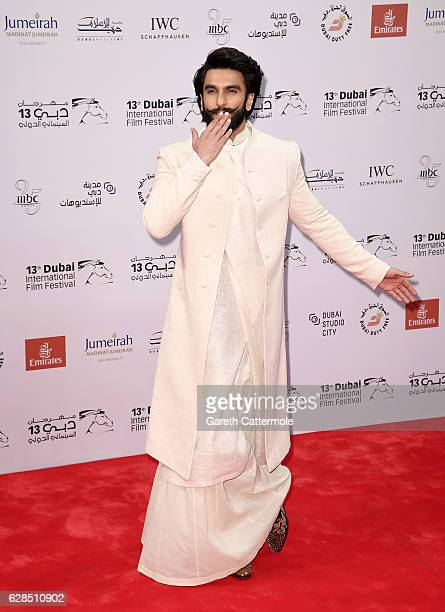 Ranveer Singh attends the Befikre red carpet during day two of the 13th annual Dubai International Film Festival held at the Madinat Jumeriah Complex...