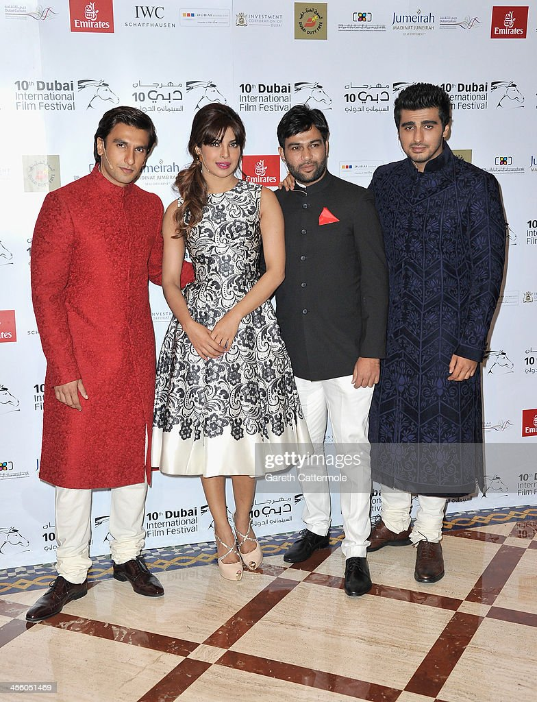 Ranveer Singh, <a gi-track='captionPersonalityLinkClicked' href=/galleries/search?phrase=Priyanka+Chopra&family=editorial&specificpeople=228954 ng-click='$event.stopPropagation()'>Priyanka Chopra</a>, Ali Abbas Zafar and Arjun Kapoor attend the 'Gunday' In Conversation during day eight of the 10th Annual Dubai International Film Festival held at the Madinat Jumeriah Complex on December 13, 2013 in Dubai, United Arab Emirates.