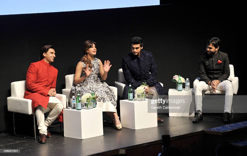 Ranveer Singh, <a gi-track='captionPersonalityLinkClicked' href=/galleries/search?phrase=Priyanka+Chopra&family=editorial&specificpeople=228954 ng-click='$event.stopPropagation()'>Priyanka Chopra</a>, Arjun Kapoor and Ali Abbas Zafar speak on stage at the 'Gunday' In Conversation during day eight of the 10th Annual Dubai International Film Festival held at the Madinat Jumeriah Complex on December 13, 2013 in Dubai, United Arab Emirates.