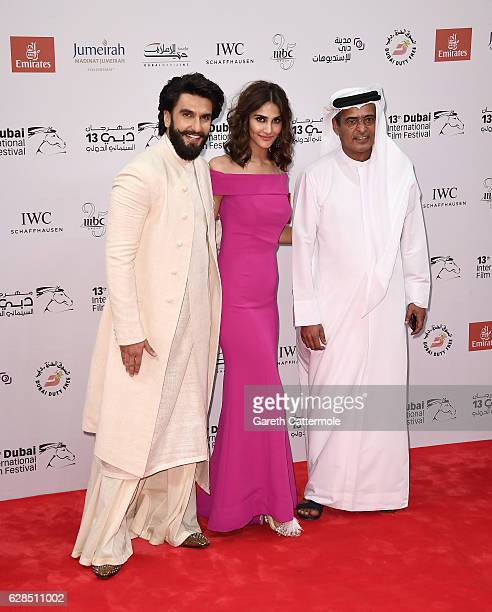 Ranveer Singh Vaani Kapoor and DIFF Chairman Abdulhamid Juma attend the Befikre red carpet during day two of the 13th annual Dubai International Film...