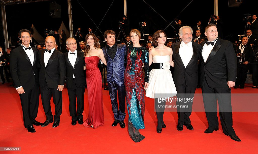 Raoul Bova, Luca Zingaretti, director Daniele Luchetti, actress Stefania Montorsi, actor Elio Germano, actress Alina Berzenteanu, Marius Ignat and Giorgio Colangeli attends the 'Our Life' Premiere held at the Palais des Festivals during the 63rd Annual International Cannes Film Festival on May 20, 2010 in Cannes, France.