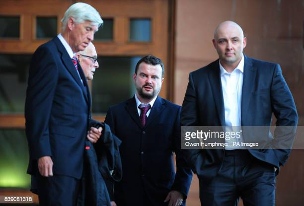 Raoul Moat's father Peter Blake uncle Charlie Alexander brother Angus Moat and best friend Anthony Wright leave Newcastle Crown Court after giving...
