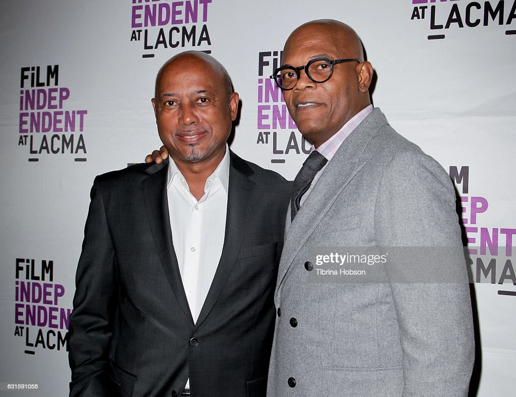 Raoul Peck and Samuel L. Jackson attend the premiere of Magnolia Pictures 'I Am Not Your Negro' at LACMA on January 12, 2017 in Los Angeles, California.