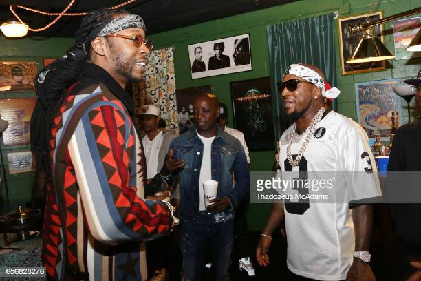 Rap artist 2 Chainz and Young Jeezy are photographed backstage at The Tabernacle on March 22 2017 in Atlanta Georgia