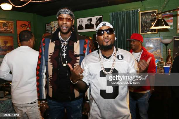 Rap artist 2 Chainz and Young Jeezy pose for a photo backstage at The Tabernacle on March 22 2017 in Atlanta Georgia