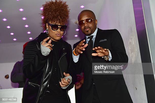 Rap Artist Da Brat and music producer Jermaine Dupri attend Lifetime premiere of 'The Rap Game' at Suite Lounge Rooftop on January 1 2016 in Atlanta...