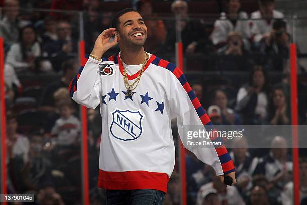 Rap artist Drake performs during the 2012 Tim Hortons NHL AllStar Game between Team Alfredsson and Team Chara at Scotiabank Place on January 29 2012...
