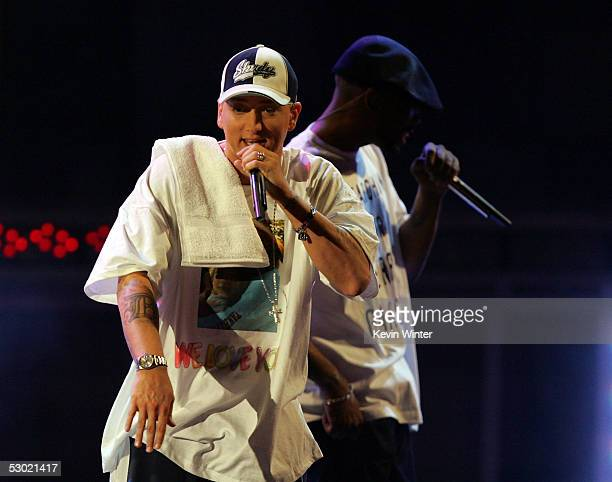 Rap Artist Eminem performs onstage during the 2005 MTV Movie Awards at the Shrine Auditorium on June 4 2005 in Los Angeles California The 14th annual...
