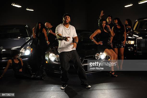 Rap Artist Flo Rida films the video for his new song 'Right Round' at Propmasters inc studios on January 28 2009 in Hialeah Florida