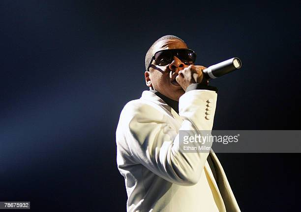 Rap artist JayZ performs during a soldout show at The Pearl concert theater at the Palms Casino Resort December 29 2007 in Las Vegas Nevada