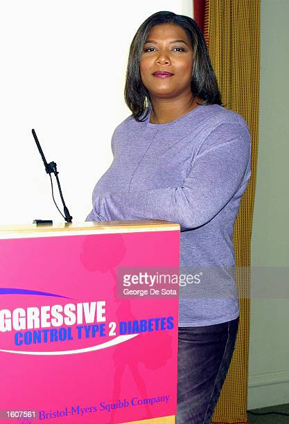 Rap artist Queen Latifah attends a conference on behalf of the program 'Be Aggressive' an effort to help control Type 2 diabetes August 7 2001 at...