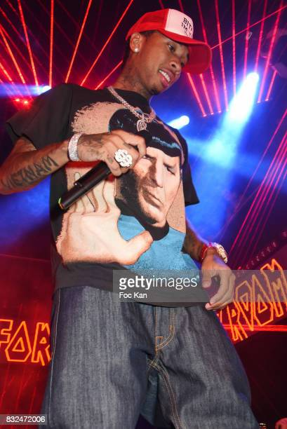 Rap artist Tyga performs during the Tyga Party at VIP Room as part of SaintTropez Party On French Riviera on August 15 2017 in SaintTropez France