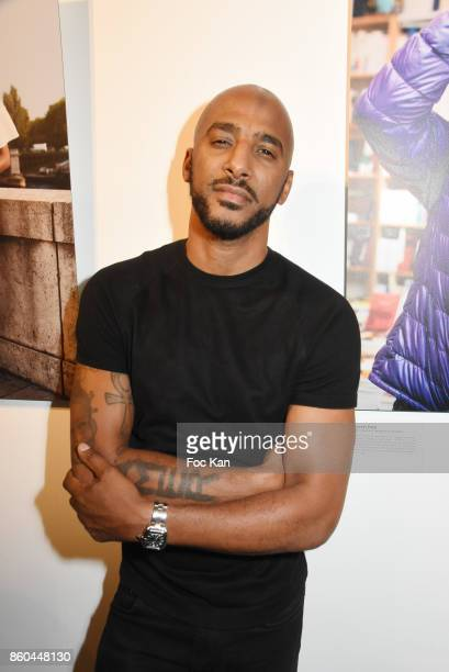 Rap artist/actor Stomy Bugsy attends the 'Afro' Rokhaya Diallo and photographer Brigitte Sombie Exhibition at Maison des Metallos on October 11 2017...