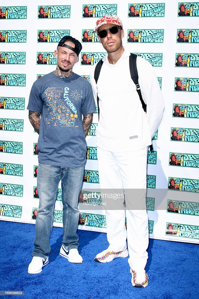 Rap artists Eligh Nachowitz (L) and Corey 'the Grouch' Scoffern attend the 27th Annual JazzReggae Festival - Day 1 at UCLA on May 26, 2013 in Los Angeles, California.