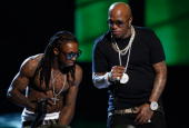 Rap Artists Lil Wayne and Birdman perform onstage during the 2009 BET Awards held at the Shrine Auditorium on June 28 2009 in Los Angeles California