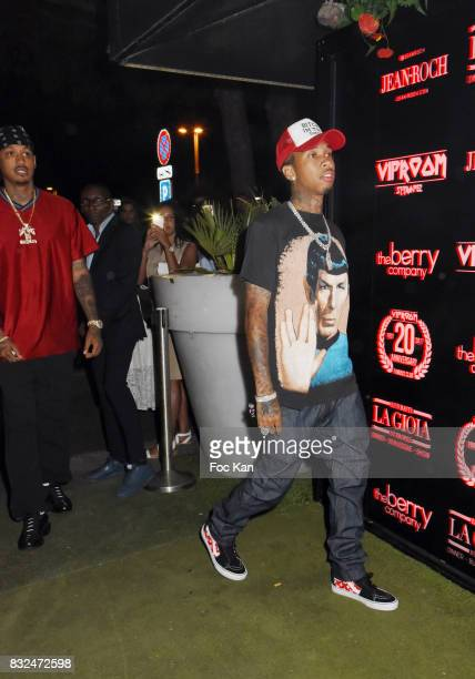 Rap artists Tyga and Murdar Marz attend the Tyga Party at VIP Room as part of SaintTropez Party On French Riviera on August 15 2017 in SaintTropez...