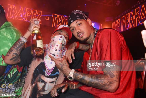Rap artists Tyga and Murdar Marz perform during the Tyga Party at VIP Room as part of SaintTropez Party On French Riviera on August 15 2017 in...