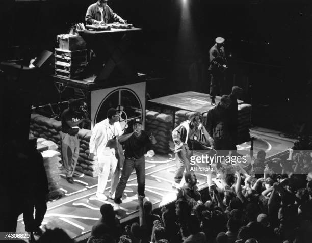 Rap group 'Public Enemy' performs onstage in circa 1988 in New York New York