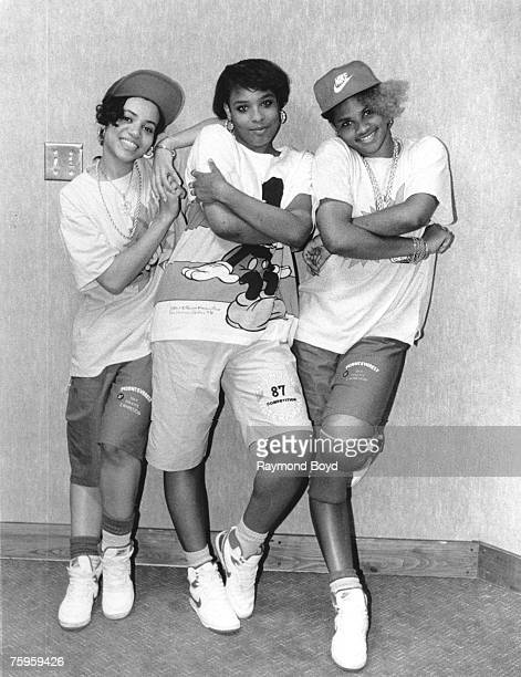 Rap group SaltNPepa pose for a portrait backstage in June 1987 in Chicago Illinois