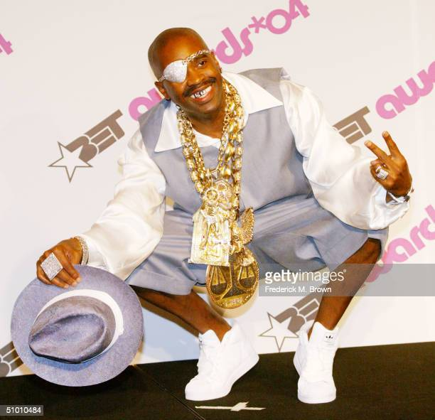 Rap legend Slick Rick poses backstage at the 2004 Black Entertainment Awards held at the Kodak Theatre on June 29 2004 in Hollywood California