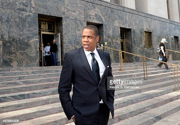 Rap mogul Jay Z departs United States District Court after testifying in a copyright lawsuit on October 14 2015 in Los Angeles California Jay Z and...