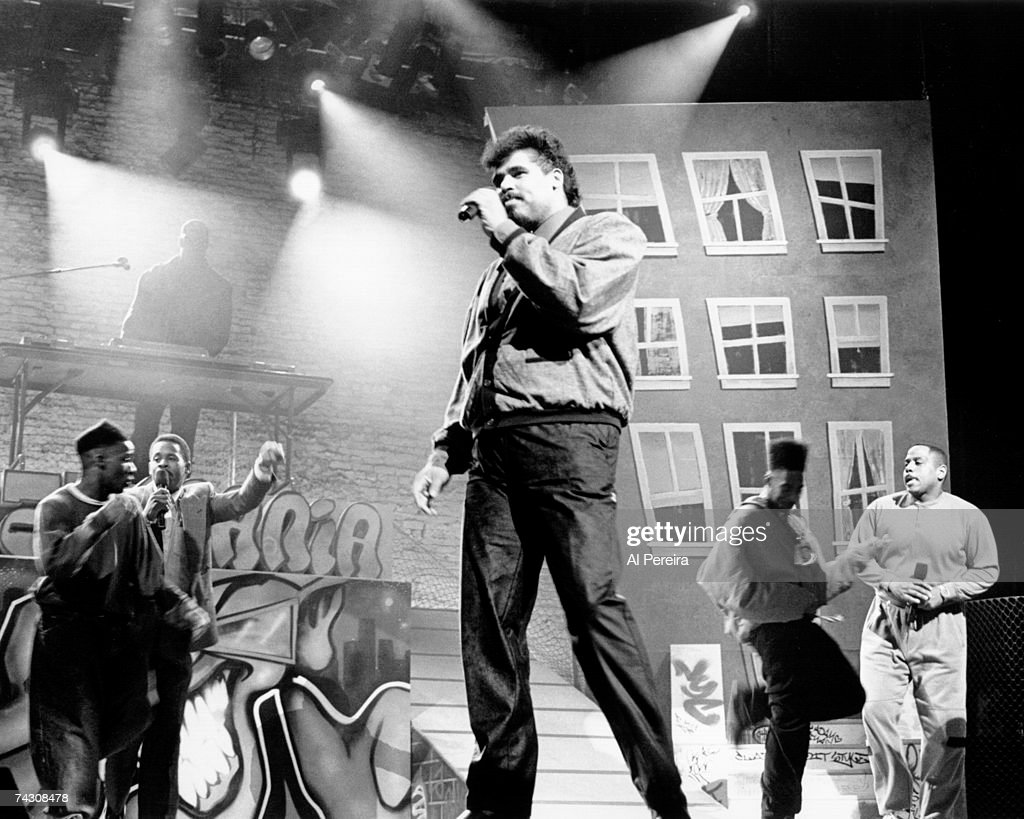 Rap pioneers the Sugar Hill Gang (L-R Master G, Wonder Mike, and Big bank Hank) perform live at the Apollo in 1990 in Harlem, New York City, New York Photo by
