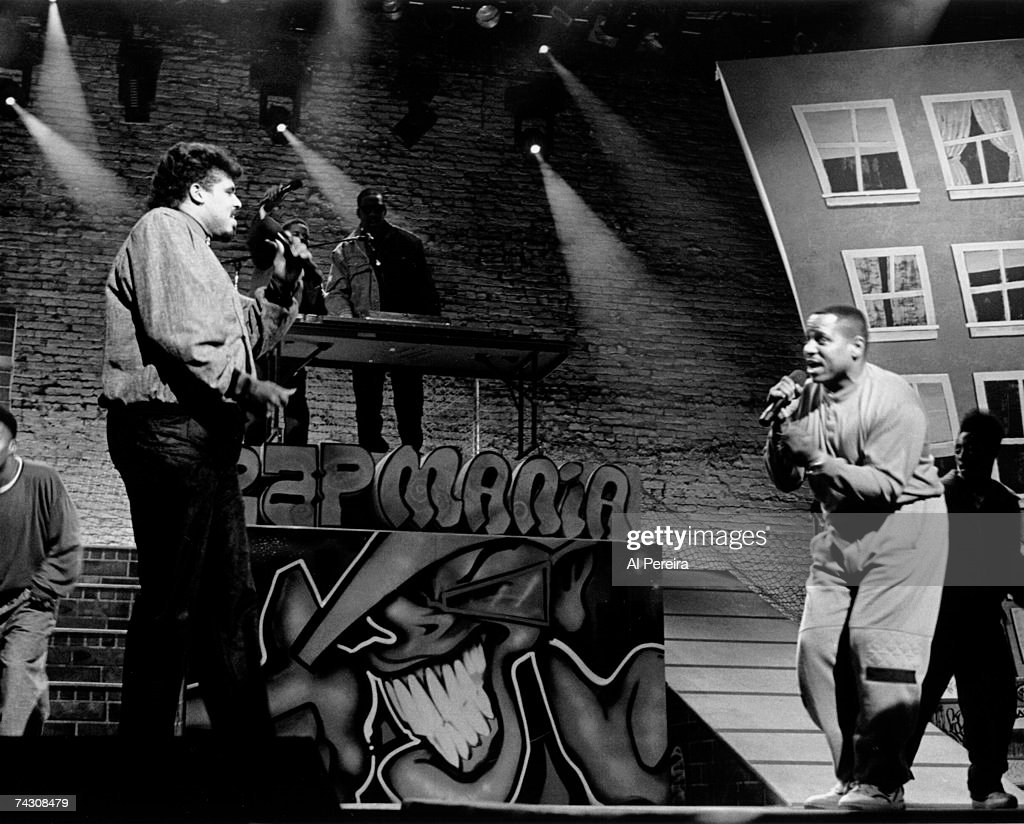 Rap pioneers the Sugar Hill Gang (L-R Wonder Mike and Big bank Hank) perform live at the Apollo in 1990 in Harlem, New York City, New York Photo by