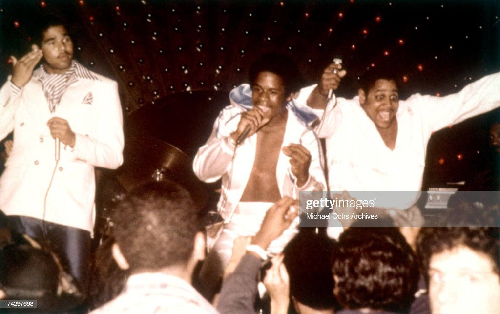 Rap pioneers the Sugar Hill Gang (L-R Wonder Mike, Master G and <a gi-track='captionPersonalityLinkClicked' href=/galleries/search?phrase=Big+Bank+Hank&family=editorial&specificpeople=2199135 ng-click='$event.stopPropagation()'>Big Bank Hank</a>) perform live circa 1979.