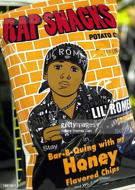 Rap Snacks potato chips featuring rapper Lil' Romeo are seen at a wholesale distributor November 26 2002 in Philadelphia Pennsylvania The potato...