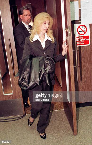 Rap star Eminem's mother Debbie Mathers exits a Macomb County Court courtroom following his sentencing on concealed weapons charges April 10 2001 in...