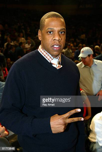 Rap star JayZ courtside at the New York Knicks versus Cleveland Cavaliers game at Madison Square Garden on November 21 2004 in New York City NOTE TO...