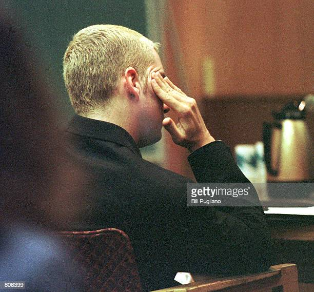 Rap star Marshall Mathers III sits in the courtroom of Judge Denise Langford Morris at Oakland County Circuit Court April 23 2001 in Pontiac Michigan...