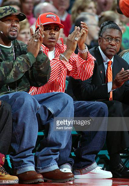 Rap star Nelly cheers on the Bobcats during the game on November 4 2004 at the Charlotte Coliseum in Charlotte North Carolina NOTE TO USER User...