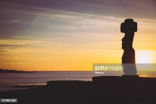Rapa Nui Sunset Ahu Tahai Silhouette Hanga Roa